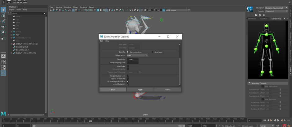 Transferring captured MOCAP data to the Dobby Rig