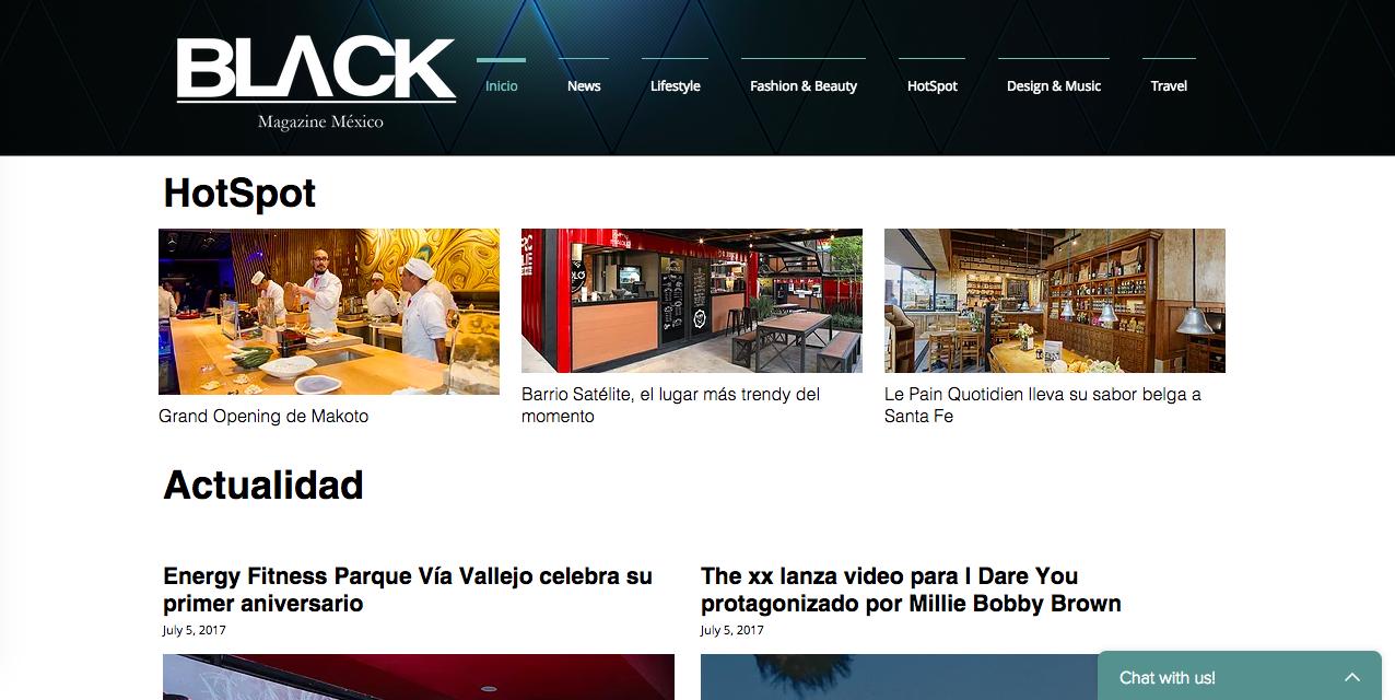 Diseño Web - Black Magazine México