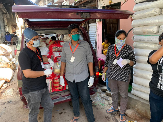A van was fully stocked up with goods for those in need