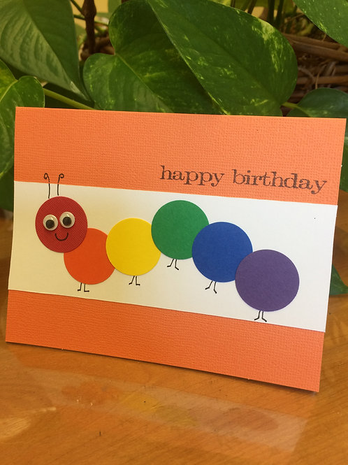 Caterpillar Child Birthday Card