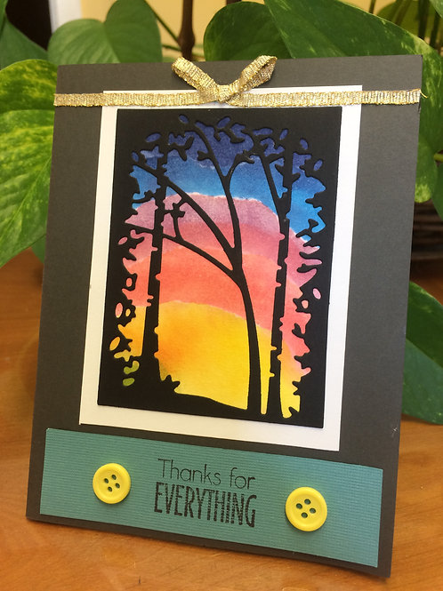 Forest Sunset Thank You Card