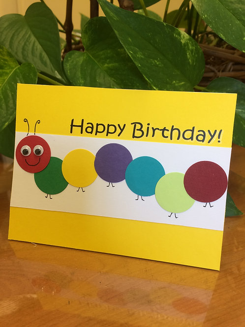 Bright Caterpillar Child Birthday Card