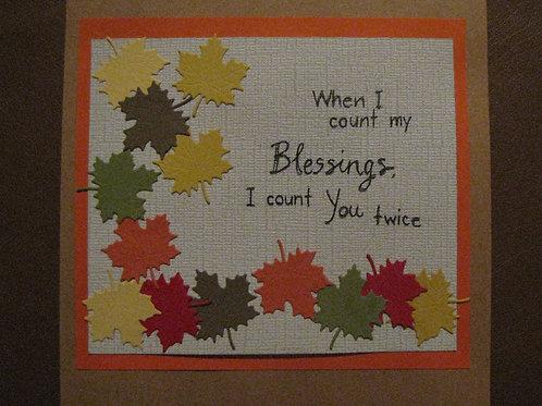 Blessings Fall Leaves Card