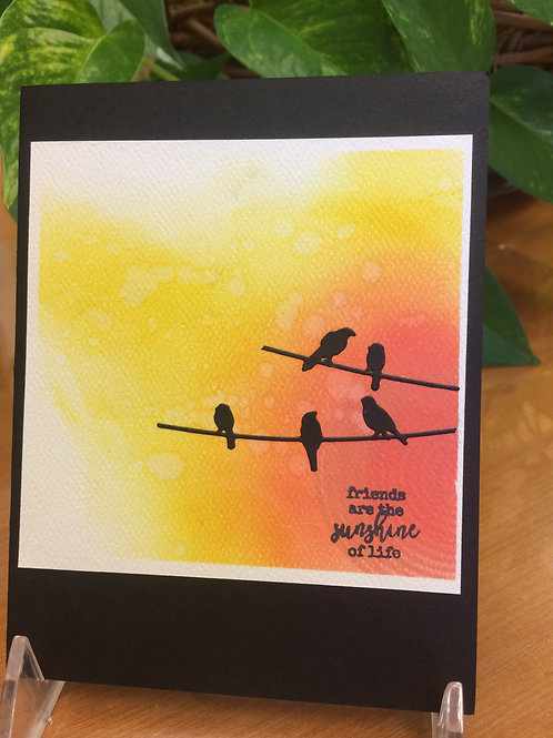 Resting Birds in the Sunset Card