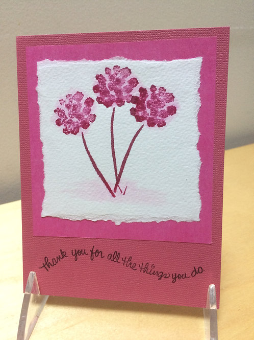Thank You Pink Flowers Card