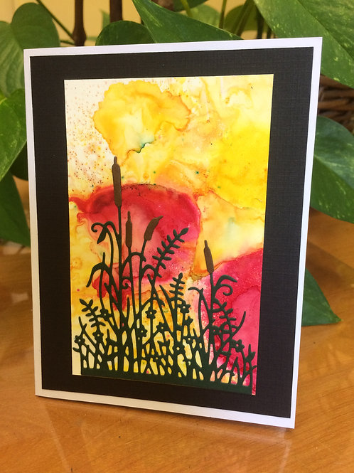 Rushes in the Sunset Card