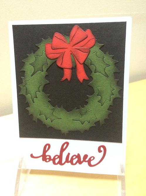 Christmas Wreath Believe Card