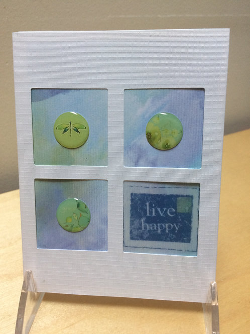 Live Happy Button Card