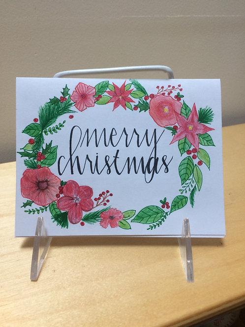 Merry Christmas Poinsettia Card