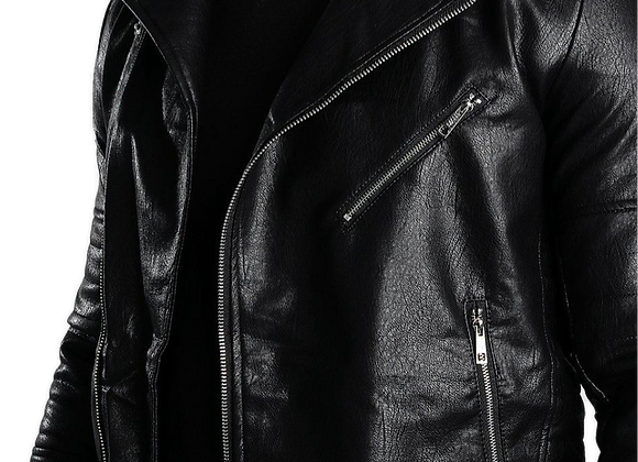 Faux Leather Biker With Quileted Detail