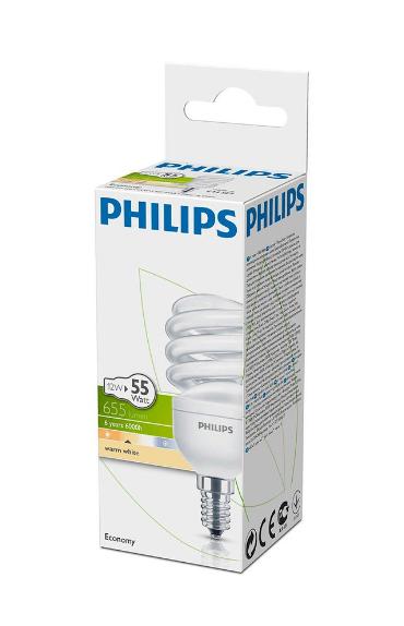 Philips Tasarruflu Twister 12W Sarı Işık Kalın Duy 12 Li Paket