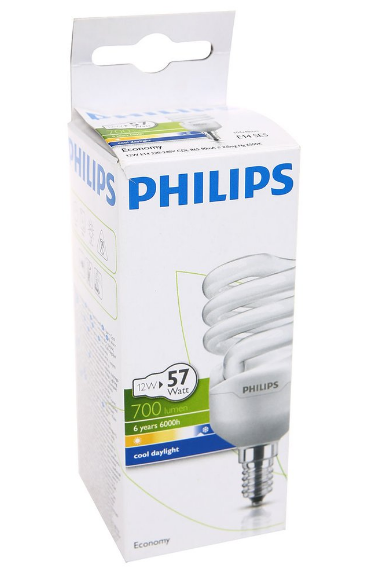Philips Tasarruflu Twister 12W Beyaz Işık İnce Duy 12li Paket