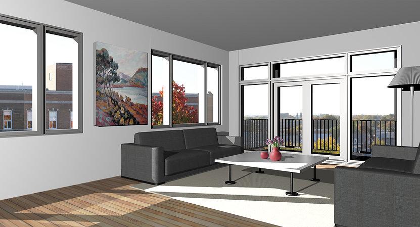 Exemple de l'intérieur 3D d'un logement