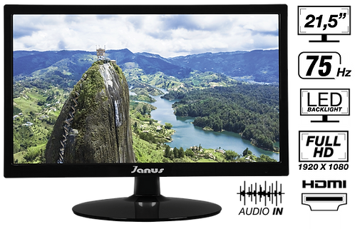 "MONITOR JANUS LED 21,5"" HDMI/VGA, FULL HD, 75 HZ, PARLANTES INCORPORADOS."