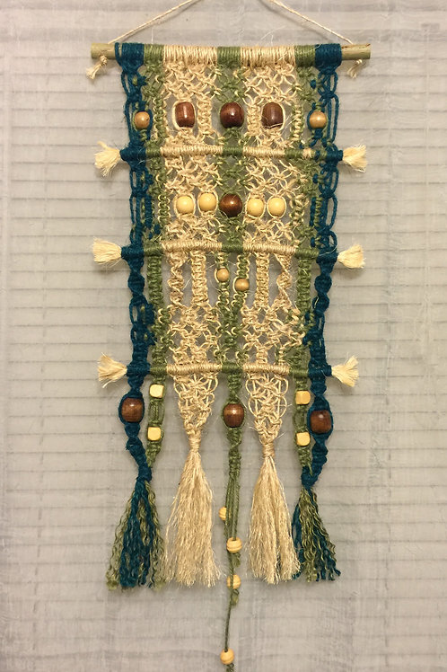 MACRAME WALL HANGING 37 jute and sisal, wood beads