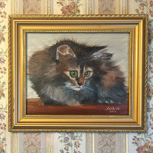 """CAT original oil painting on canvas, 8""""x10"""" framed"""