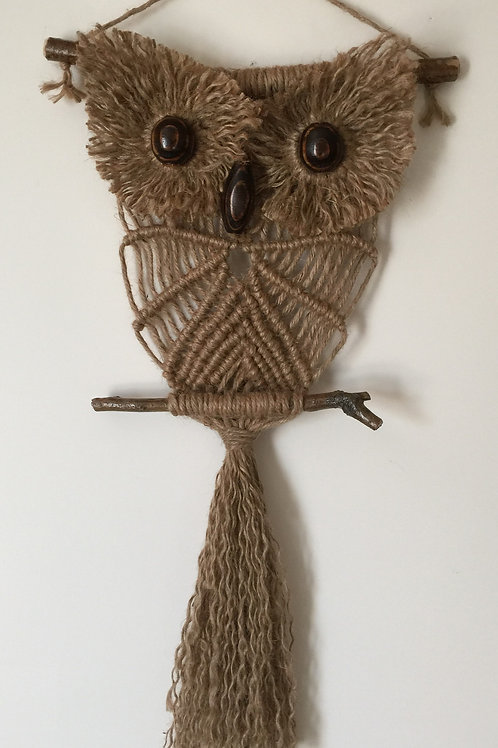 OWL #191 Macrame Wall Hanging, natural jute, macrame owl