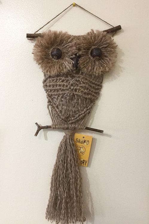 OWL #202 Macramé Wall Hanging, natural jute, macramé owl