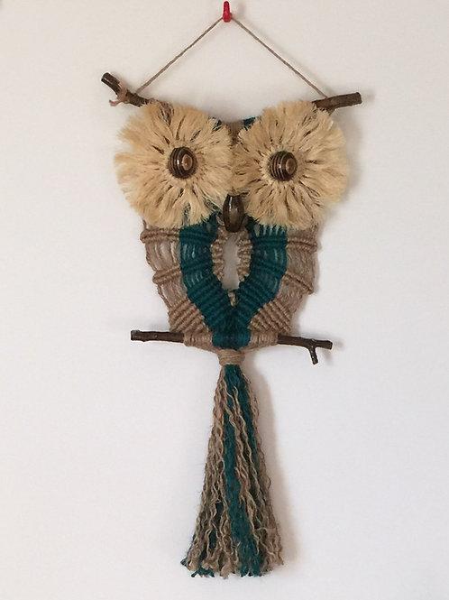 OWL #111 Macrame Wall Hanging, natural jute, sisal, macrame owl