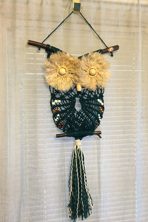 OWL #22 Macrame Wall Hanging, colored jute, sisal