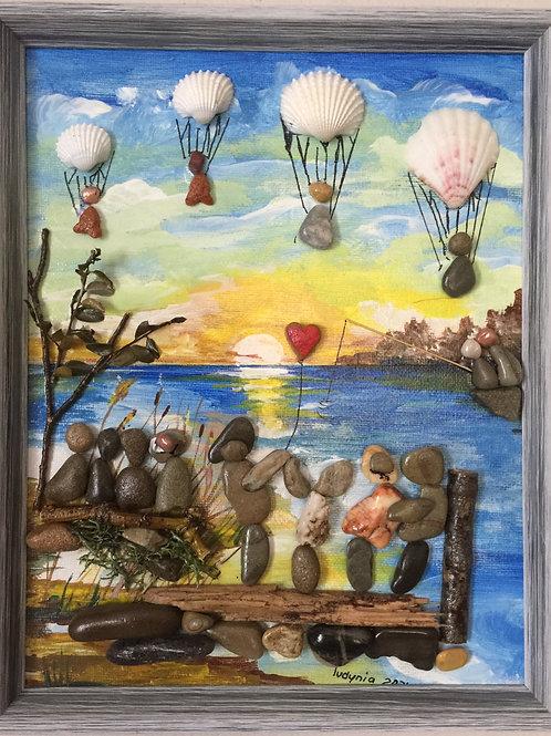 BALLOON FESTIVAL Pebble Art (38) collage, 3D picture,
