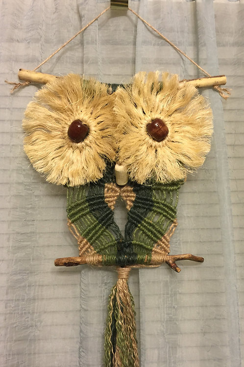 OWL #37 Macrame Wall Hanging, colored jute, sisal