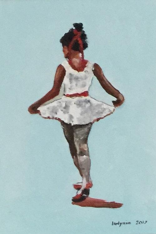 "BALLERINA original oil painting on canvas panel, 9"" x 12"""