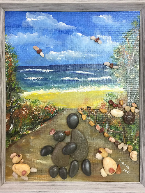 WALK BY THE SEA Pebble Art (14) collage, 3D picture,