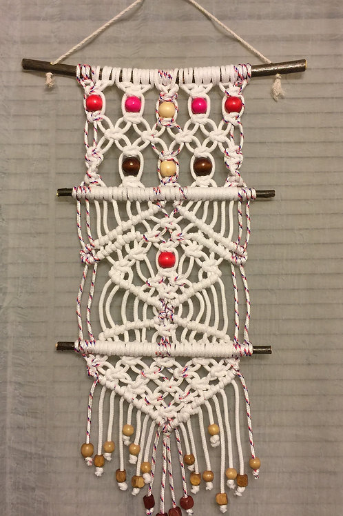 MACRAME WALL HANGING 23, white, blu & red accent