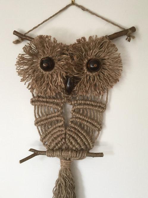 OWL #164 Macrame Wall Hanging, natural jute, macrame owl