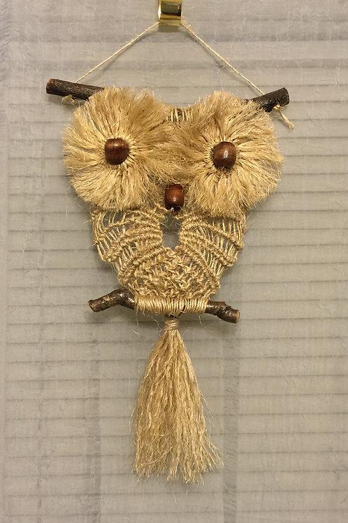 OWL #28 Macrame Wall Hanging, sisal, small macrame
