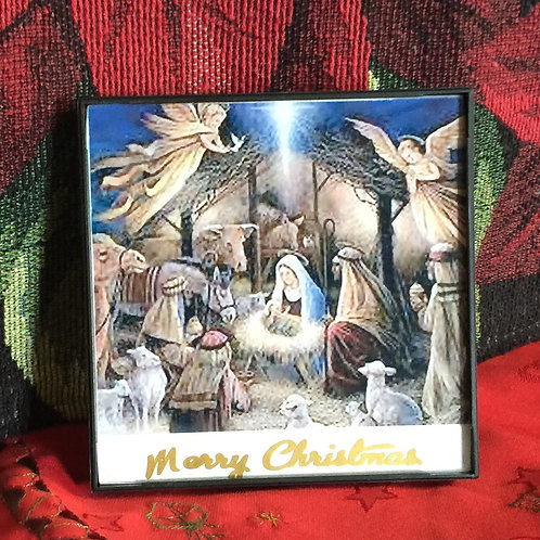 NATIVITY SCENE small framed picture on the glass