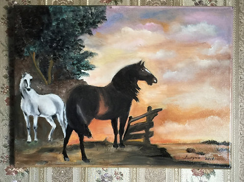 HORSES IN A FIELD (85) original oil painting