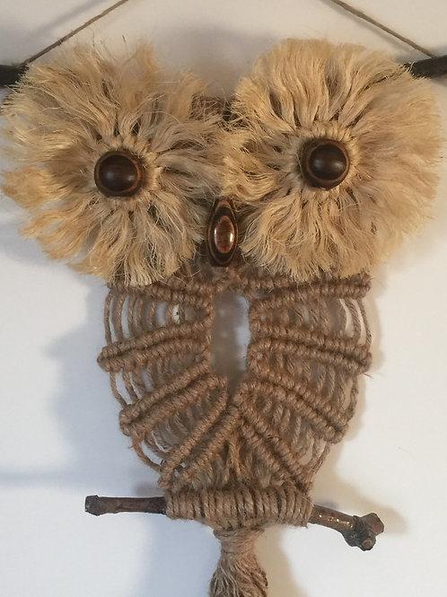 OWL #174 Macrame Wall Hanging, natural jute, sisal