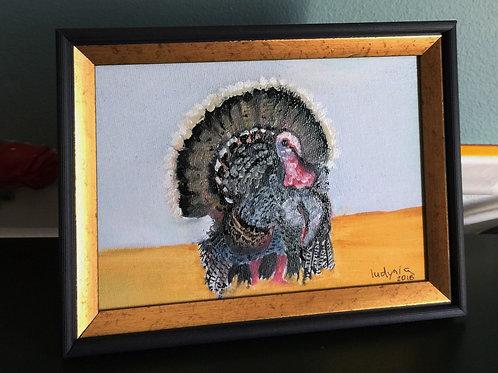 "TURKEY #5 original oil painting on canvas, 5""x7"""