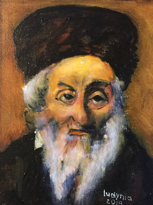 """OLD JEW (133) original oil painting on canvas panel 8"""" x 10"""", framed"""