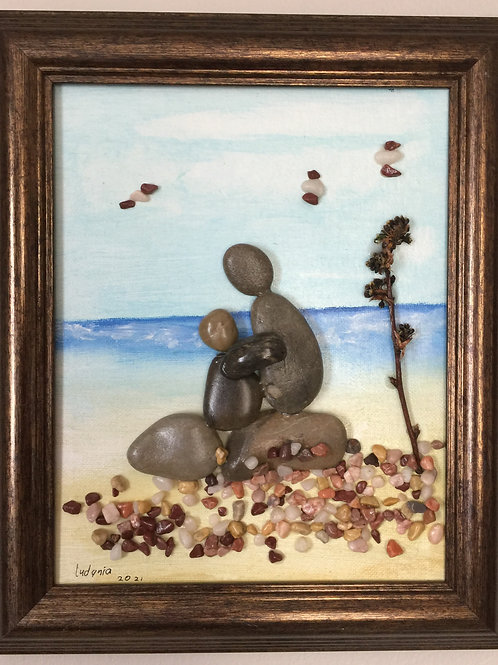 WITH MY LOVE Pebble Art (3) collage, 3D picture,