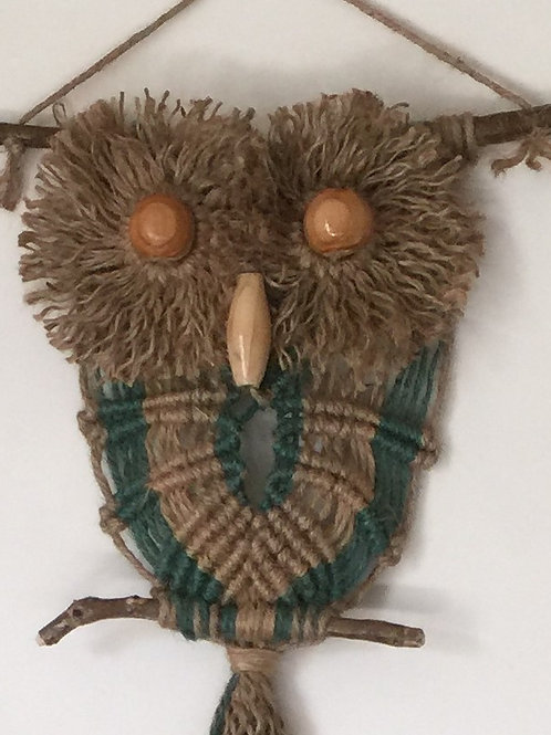 OWL #165 Macrame Wall Hanging, natural, colored jute, macrame owl