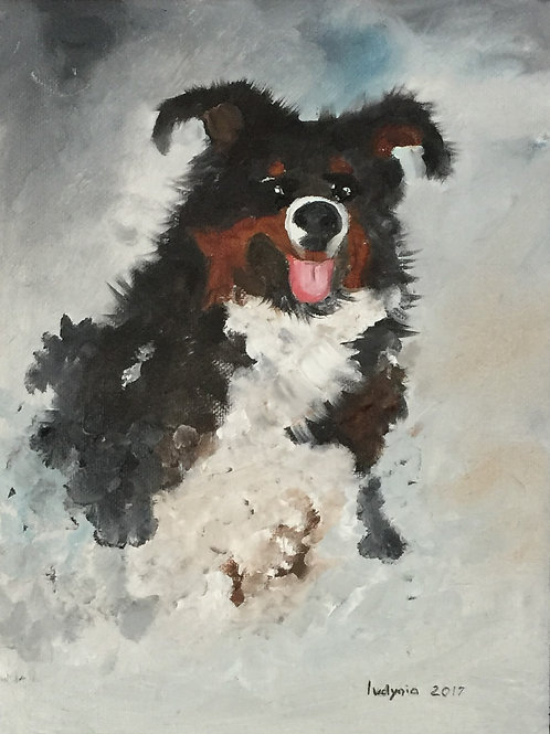 """PUPPY D original oil painting on canvas panel, 9"""" x 12"""""""