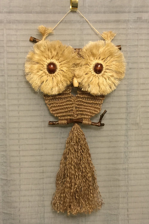 OWL 42 Macrame Wall Hanging, jute, sisal