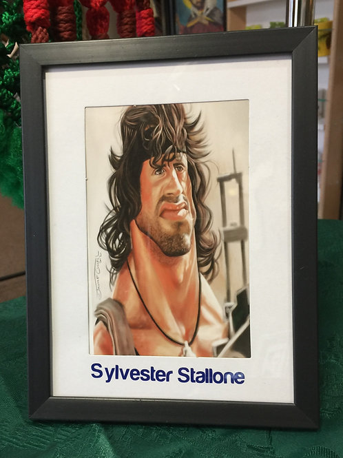 SYLVESTER STALLONE Caricature Mixed Media Picture