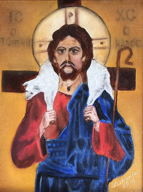 CHRIST with a LAMB original oil painting on stretched canvas