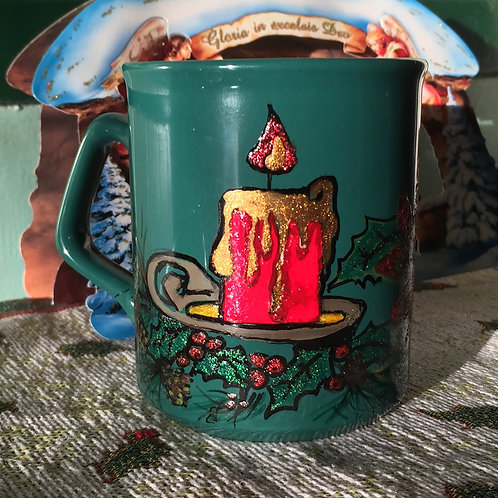 CHRISTMAS CANDLE  Hand-painted Coffee Mug
