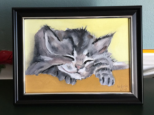 """SLEEPY KITTEN #2 original oil painting on canvas, 5""""x7"""""""