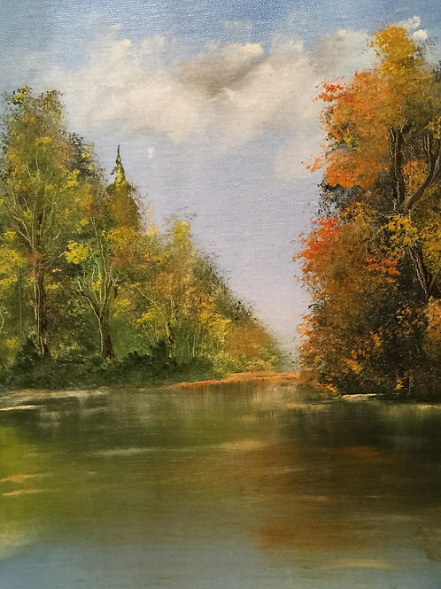 "FALL RIVER (97) original oil painting 11""x14"", framed"