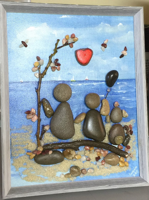 ON THE BEACH Pebble Art (12) collage, 3D picture