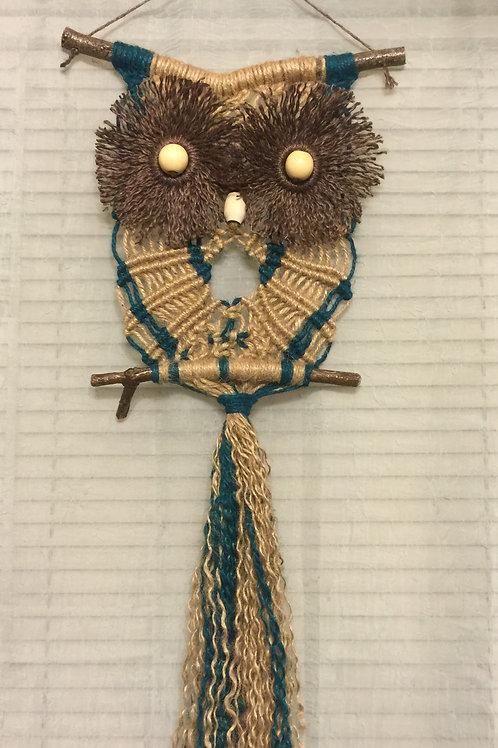 OWL #56 Macrame Wall Hanging, natural colored jute,