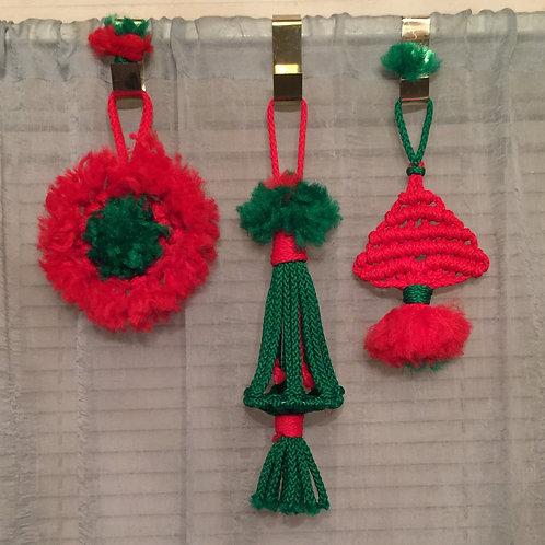 MINI CHRISTMAS MACRAME Wall Hangings, set of 3