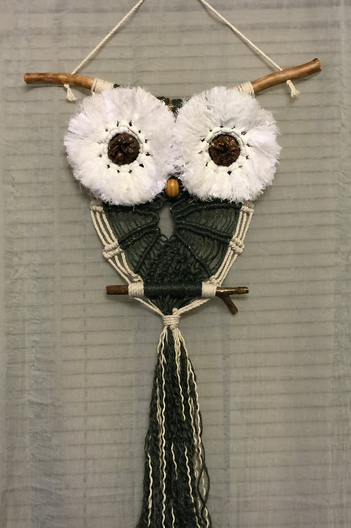 OWL #21 Macrame Wall Hanging, colored jute, cotton