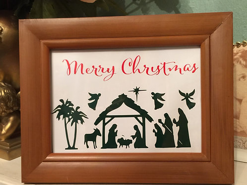 NATIVITY SCENE vinyl images covered with glass,